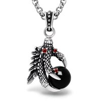 One Piece Man's Super Cool Black / Red Stone Большой CZ Eagle Claw Necklace Pendant для мужчин