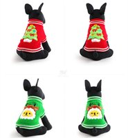 Wholesale Cat Christmas Coats - Wholesale-Hot Christmas tree Design Lovely Puppy Pet Cat Dog Sweater Knitted Coat Apparel Clothes 5 Sizes CHristmas JF-270