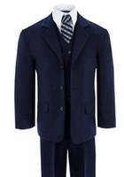 Wholesale White Dress Vest For Boys - Boys suits for wedding formal occasion boy suits blue classic boy suits boys flower girl dress suits fashion boy suits(jacket+pants+vest)