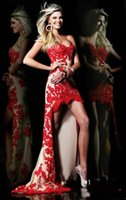 Wholesale Red Homecoming Dresses Strapless - Sher Hil Split Evening Dress Strapless Illusion Sleeveless Sweep Train Embroidered Evening Dresses 3 Colors Red Pink White