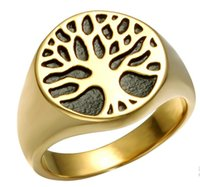 Wholesale life rings - Punk Men's Biker Mens Boys Stainless Steel Ring Band Tree Of Life Silver Gold Tone Fashion Hip Hop Jewelry Us Size 8-13 Drop Shipping