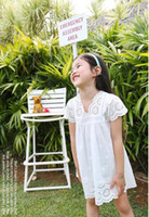 Wholesale Korean Clothes Sizing For Kids - 2016 summer new arrival girl cotton lace dress for kids children clothes white lace princess korean cute dress size 100-140