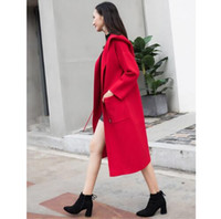 Wholesale blue cashmere coat - US UK CAmanteau femme 2018 Fall Winter Women Simple Cashmere look robe Long Coat with belt Female Classic Female Overcoat Casacos