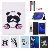 Wholesale Animal Cases For Tablets - Panda Pattern PU Leather Flip Case For Samsung Galaxy Tab E T560 T561 Tab A 9.7 T550 T555 10.1 2016 T585 T580 Tablet Cover With Card Slot