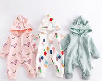 Wholesale Caps Animal Ears - INS Newborn Baby fall long sleeve round collar with cap zipper romper 100% cotton Full printed cartoon pattern outwear Stereo ear romper