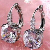 Wholesale Retainer Jewelry - Pure Noble White Topaz Dangle Hook Silver Earring Fashion Stone Jewelry Wholesale earring retainers