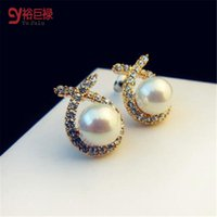 Wholesale Nice Shops - Nice shopping!! 2016 Fashion Gold Crystal Stud Earrings Korean high-grade alloy pearl anti allergy earrings jewelry brand mix