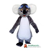 Wholesale Real Fur Suits - !00% real photos Koala Bear mascot costume Animal Mascots Fur mascot suit