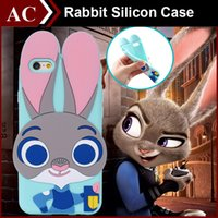 Wholesale Rabbit Silicon Case - 3D Cartoon Zootopia Judy Rabbit Soft Silicon Case For iPhone 4 4s 5 5S SE 6 6S Plus Character Cute Rubber Capa Cover Back Skin