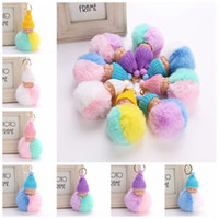 Wholesale Cars Knit Hat - Fluffy Sleeping Baby Doll 8cm Knit Hat Keychain Faux Rabbit Fur Bag Pom Pom Hat Key Ring Soft Pendant 500pcs LJJO3478
