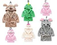 Wholesale Hooded Beach Robe - Kids Dog Bathrobe Cotton Hooded Wicking Sleep Robes Cartoon Swim Beach Towels Blankets Robes Home Clothing 6 Style