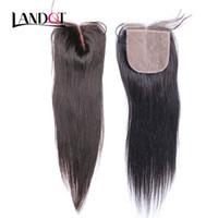 cheveux cachés achat en gros de-Fermeture de base de soie brésilienne malaisienne péruvienne indienne cambodgienne vierge de cheveux humains Top dentelle fermetures droites libres / moyen / 3 parties cachées noeuds