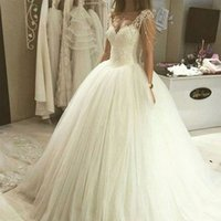 Wholesale Bridal Dress China Ball Gown - Princess Wedding Dresses from China Ball Gown Sweetheart Sheer Straps Beading Lace Tule Puffy Tulle Bridal Gowns Custom Made