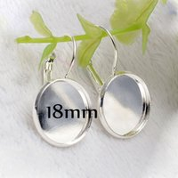 Wholesale Lever Back Ear - DHL Free 8mm-25mm Cameo Glass Cabochon Antique Bronze Silver Plated French Lever Bezel Blank Earrings Backs Base For DIY Earrings 1000pcs
