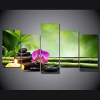 blank canvas pictures - 5 Panel HD Printed candles orchids bamboo Painting on canvas room decoration print poster picture canvas blank canvases for painting