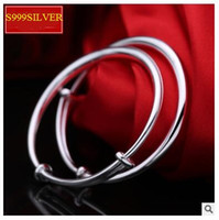Wholesale Skin Birthday Gift - S999 one thousand fine silver bracelet 20g Baby child silver bracelet smooth round belly skin-friendly baby full moon birthday gift for 0-6