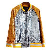 ingrosso giacca gialla delle signore-Cappotto da baseball in paillettes di colore alla moda per donna