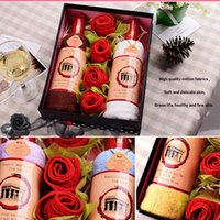 Wholesale Towel Cake Red - Valentine Day High Quality Bamboo Fibre Creative Red Wine Bottle Shape Towel Gift Set Towel Cake Gift for Wedding