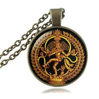Wholesale East Dance - Golden Buddha Necklace Dance of Destruction Lord Shiva Pendant Glass Dome Art Buddhist Jewelry Hindu Deity Choker Spiritual Amulet Necklace