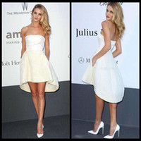 Wholesale Hidden Mini Sexy - Rosie Huntington Whiteley Cannes Celebrity Dresses Satin Strapless Short Front Long Back Mini Little White Hidden Pockets A-Line Prom Gowns
