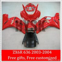 Wholesale Zx6r Factory Fairings - Factory All Red Fairings For Kawasaki Ninja ZX6R 636 2003 2004 ZX 6R 03 04 ZX-6R 2003-2004 All Red ZX 636 Ninja ABS Fairing Kits For Sale