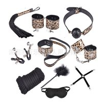 Wholesale Adult Outlet - Sexy Leopard leather, 10 piece set, alternative toys, bundled bondage sets, adult products, factory outlets, hand and foot handcuffs