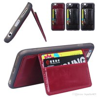 Wholesale Sansumg Phones - iPhone 6 4.7 Plus 5.5 inch Sansumg S6 S6 EDGE Vintage Retro Flip Stand Wallet Leather Case ID Card Holder Phone Cover