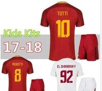Wholesale Kids Kds - 17 18 new Rome Kids home soccer Jerseys kids kit EL Shaarawy 2017 2018 kids football kds away soccer Jerseys shirts white
