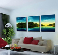 Wholesale giclee printing resale online - Modern Beautiful Landscape Sunset Picture Giclee Print On Canvas Home Decor Wall Art Set30301
