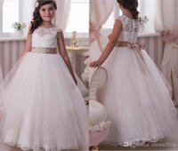 Wholesale Rhinestone Appliques For Pageant Dresses - Lace Applique Crystal Flower Girl Dresses 2016 For Wedding Floor Length Jewel Neck Beaded Sash Tulle Party Pageant Prom Ball Gown