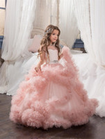 Wholesale Wedding Dresses Round Back - Girls Pageant Dresses Tulle Ruffle Clouds Ball Gown Girls Prom Dresses Round Neck Low Back Crystal Beadings Waistband Kids Gowns