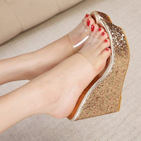 Wholesale Shoes Sequins Fish - Summer Home Transparent Sequins Thick Bottom Slope Fish Mouth High-heeled Sandals Women Waterproof Fashion Slippers Shoes 35-39