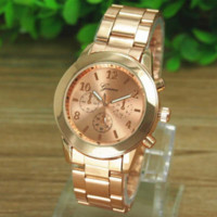Wholesale Cheap Branded Watches Geneva - Geneva Gold Watch Ladies Women Girl Luxury Brand Stainless Steel Quartz Wrist Watch Reloj Clock Relojes Mujer Cheap Dress Watch