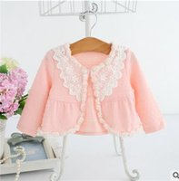 Wholesale Spring Cardigan Toddler - Baby girls shawl Autumn newborn Stereo flowers Toddler kids lace cardigan Fashion kids cotton hollow-out cape children outwear G1008