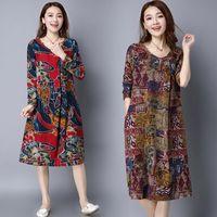 Wholesale Vintage Dresses Size Xxl - 2016 Autumn dress Women clothing Plus size Loose National style Breathable Comfortable Vintage Long sleeve M-XXL Casual dresses