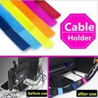 ingrosso legami colorati-Dei conduttori del cavo Organizzatore Strap Wire Wrap gancio del cavo clip di cavo Titolare cravatta colorata Loop