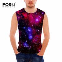 Wholesale Galaxy Cotton Tank Tops - Wholesale- FORUDESIGNS Men's Tank Top Men Bodybuilding Vests 3D Galaxy Star Universe Space Print Men Vest Sleeveless Cotton Blusa Masculina