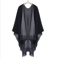 Wholesale Women Oversized Batwing Cardigan Sweaters - Wholesale-2016 New Winter Women Overwear Coat Oversized Knitted Cashmere Poncho Capes Duplex Shawl Cardigans Sweater With Tassel New