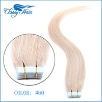 Wholesale 24 Inch Tape Hair - Light Blonde Straight Adhesive Skin Wefts Tape In Human Hair Extensions PU Tape Hair 20pcs set 16 - 24 inches