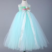 Wholesale Ball Pts - Hot Mint Green Flowers Girls Dresses For Wedding Satin Straps Toddler Baby Girls Birthday Tutu Dresses With Bow Pt 10