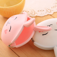 Wholesale Bunny Wallets - fashion coin purse candy colors bag lady packet key cases Wallets Holders Cartoon silicone purse Korean cute bunny 586