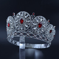 Wholesale Round Shelves - Miss Beauty Crowns For Pageant Contest Private Custom Temporary Shelves Round Circles Bridal Wedding Tiaras Red Stone Mixing Mo228