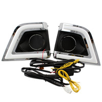 Wholesale turn signal lights toyota - 2pcs lot LED Daytime Running Light for Toyota Corolla 2014 2015 with Amber Turn Signal Fog Lamp Hole DRL Free Shipping