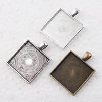 Wholesale 25mm Silver Tray - 25mm Antique Silver Square Blank Pendant Trays, 1 Inch Bezel Blank Pendant Settings, Pendant Blanks, Square Pendant Blank