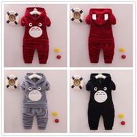 Wholesale Wholesale Clothing Hoodies - kids clothes 2017 autumn girls boys velvet clothing long sleeve hoodies + pants 2 pcs outfit clothes