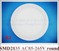 Wholesale Pmma Box - aluminum PMMA ceiling LED panel lamp flat light round surface mount 18W 12W 6W cool white   warm white surface install 20pcs box