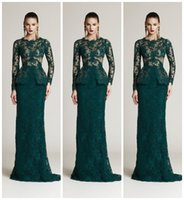 Wholesale Full Size Evening Gowns - 2016 Dark Green Full Lace Mermaid Formal Evening Dresses Crew Long Sleeve Peplum Sexy Party Prom Dress Gowns Vestidos De Festa Cheap