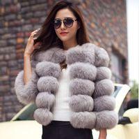 ingrosso donna trincea calda-2019 Winter Fox Fur Coat Jacket Petite Ladies Fur Peacoat Outwear Girocollo Manica lunga Parka Cappotti Short Trench Cappotti Warm Outwear