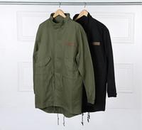 ordu hendek ceketi toptan satış-Askeri Stil Kanye West Ordu Yeşil Trençkot Mens Kpop Giyim Aplike Tasarım Kargo Ceketler YEE3321