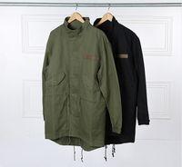 ingrosso trincea verde-Trench verde militare stile Kanye West Army Mens Kpop Abbigliamento Applique Design Cargo Giacche YEE3321